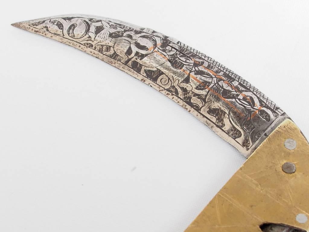 28 cm Knife Islamic scythe Short sword Dagger choora Pesh kabze  lohar Knife Khyber sickle Pick lapis  handle afghanistan pakistan : 17/B