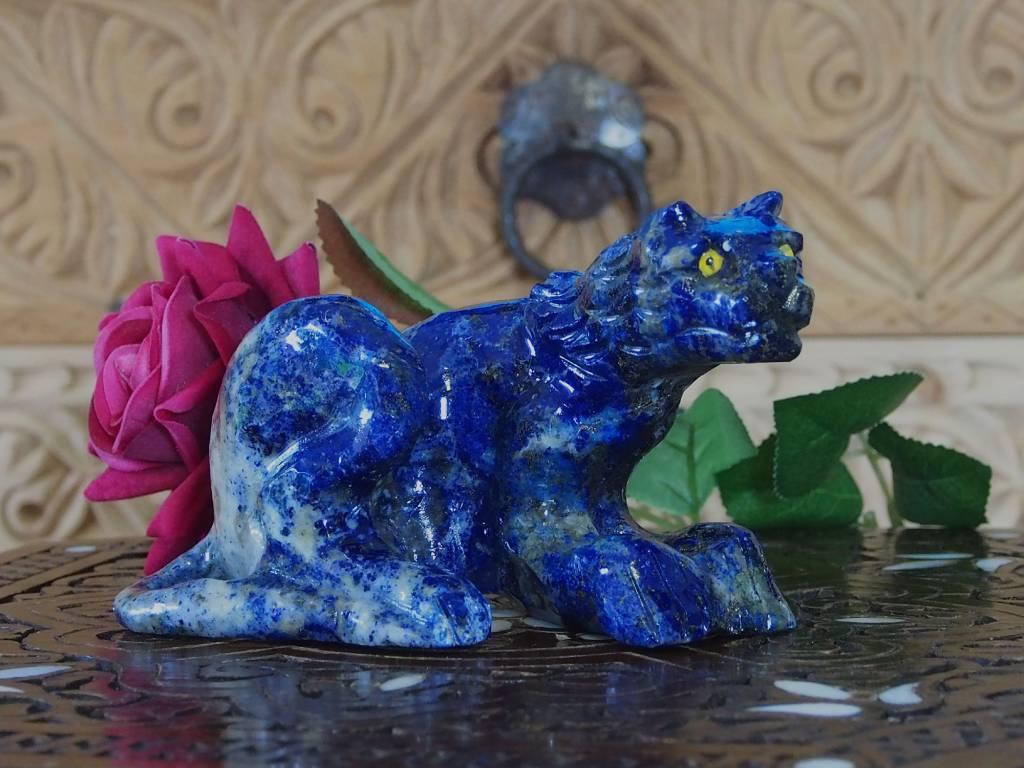 Tierfigur EdelsteinLapis lazuli huh Tierfigur EdelsteinLapis lazuli leopard Löwe Katze jaguar raubkatze tiger Nr:382