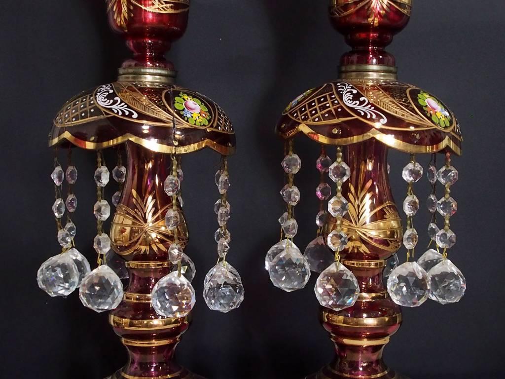 Antike persische qajar islamische Glas Kristall böhmische Kronleuchter Lampe N:C