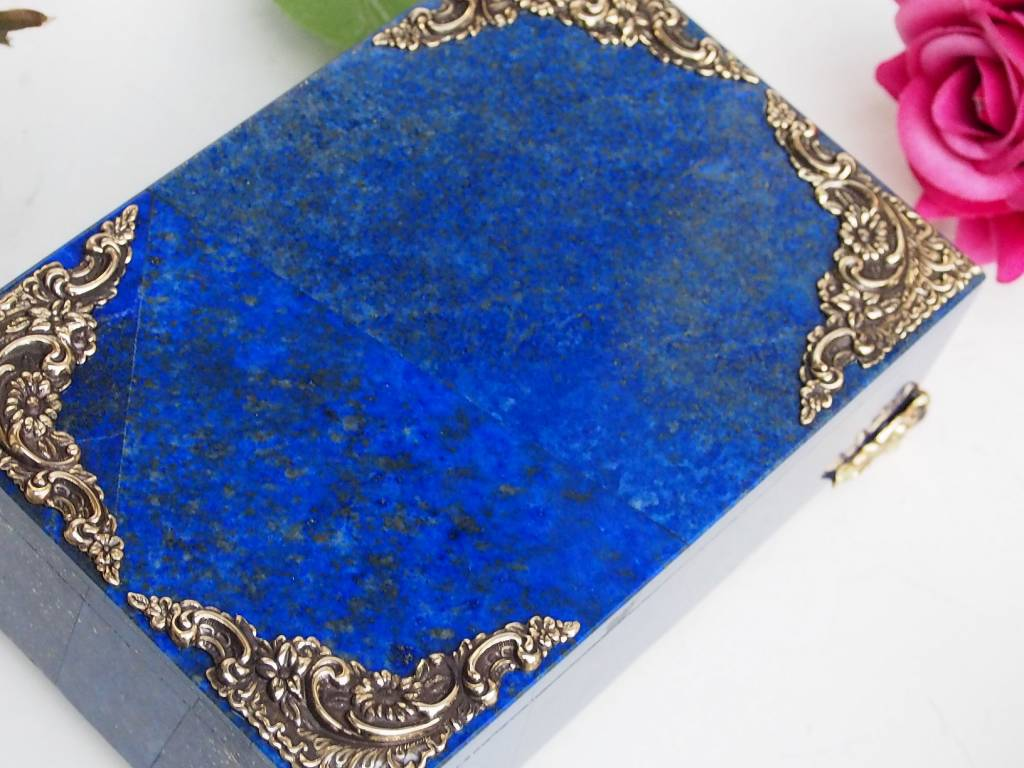 Extravagant Royal blau echt Lapis lazuli büchse Schmuck Dose schatulle Gefäß Pillen Dose aus Afghanistan Nr-18/B
