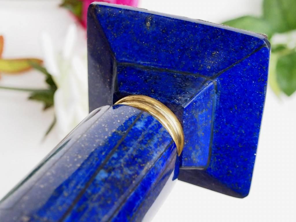 ein Paar Extravagant Royal blau echt Lapis lazuli kerzenhalter kerzenständer Kerzenleuchter messing verziert aus Afghanistan (L)