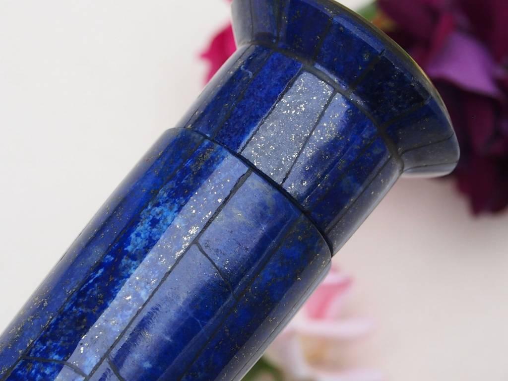 ein Paar Extravagant Royal blau echt Lapis lazuli kerzenhalter kerzenständer Kerzenleuchter messing verziert aus Afghanistan (M)