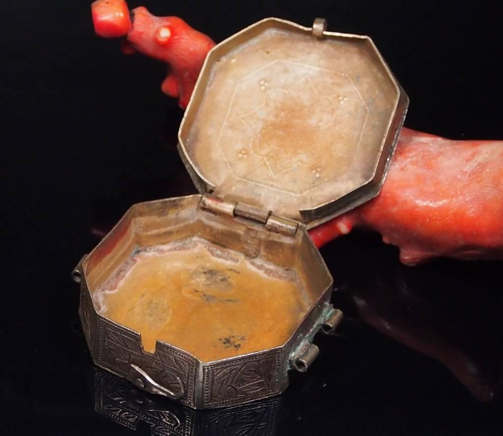 Antike 19. Jh. Islamische Amulett Box Halskette Talisman Silber Anhänger Schmuck Koran tasche Bazuband Oberarm Amulette Afghanistan 18/F
