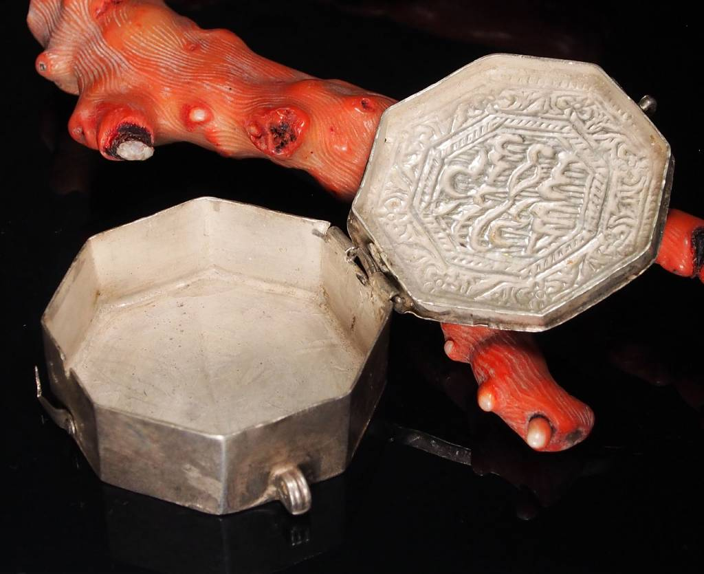 Antike 19. Jh. Islamische Amulett Box Halskette Talisman Silber Anhänger Schmuck Koran tasche Bazuband Oberarm Amulette Afghanistan 18/K