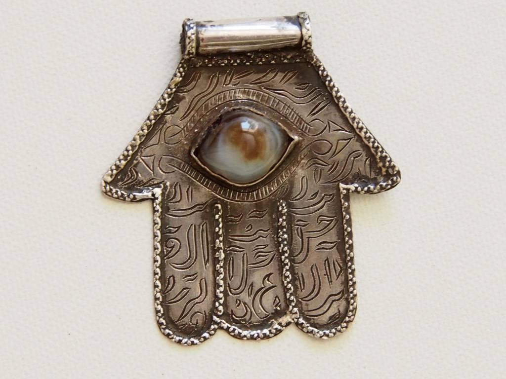 Hand-Fatime aus Silber mit Augenachat (silber)