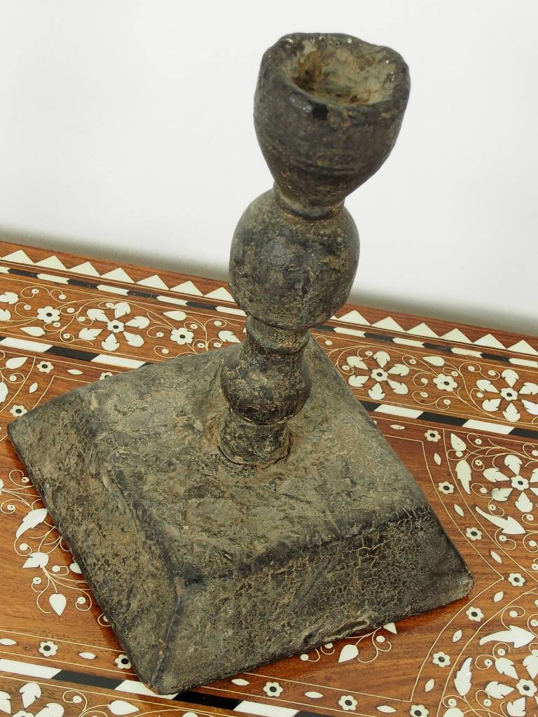 Rare carved  islamic  Antique Ottoman wood candle holder