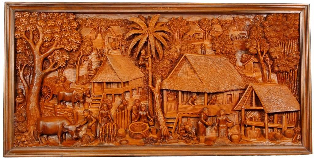 160x78 cm Ramayana mural wood carving
