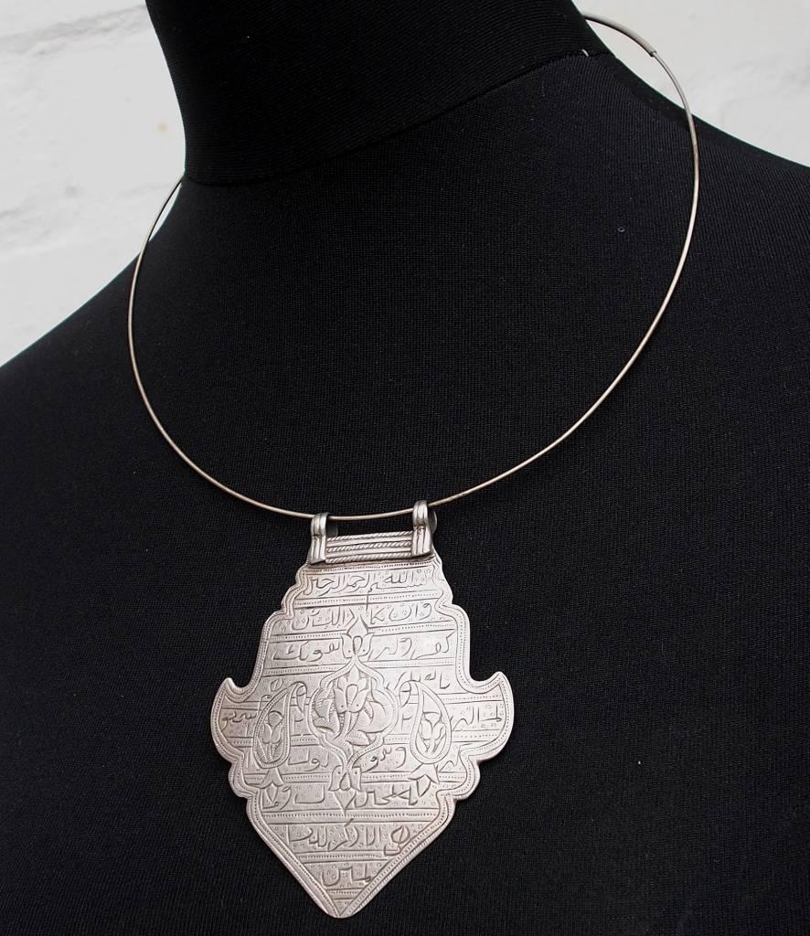Antike islamische Glück Amulettlet Halskette mit Mango Amute und Anhänger geätzt mit arabischen Symbolen Skript 18/C
