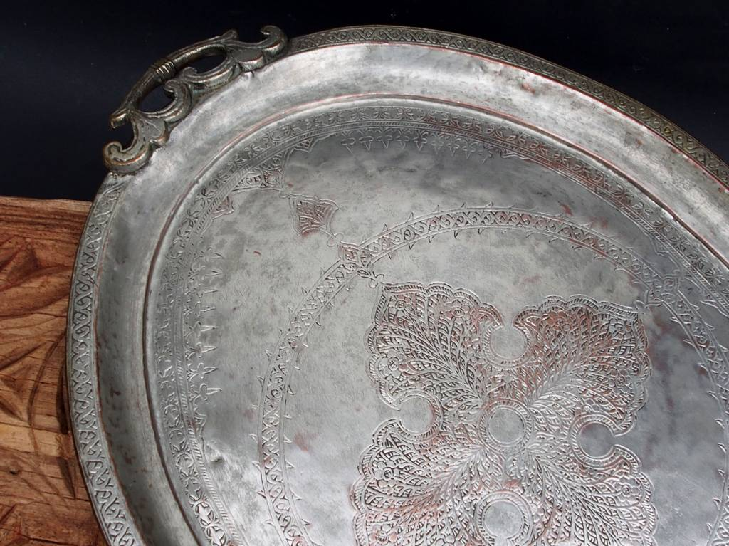 antik sehr seltener Massiv orientalische Kupfer tablett Teetisch Afghanistan No:18/A
