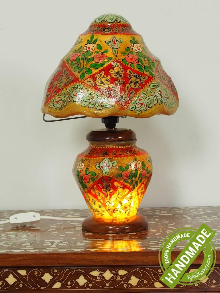 orientalische handbemalte Lampe Kamelleder Tischlampe Nachttischlamp Tischleuchte Nachtlampe Stehleuchte Handarbeit aus Multan Pakistan 18/ 10