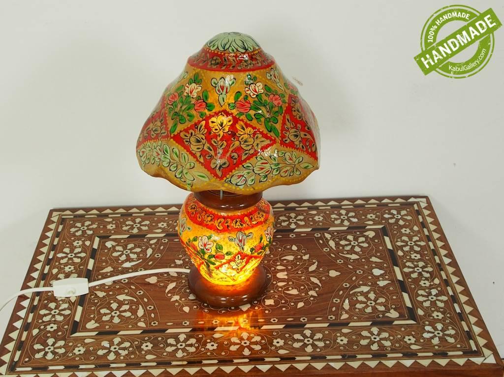orientalische handbemalte Lampe Kamelleder Tischlampe Nachttischlamp Tischleuchte Nachtlampe Stehleuchte Handarbeit aus Multan Pakistan 18/ 12