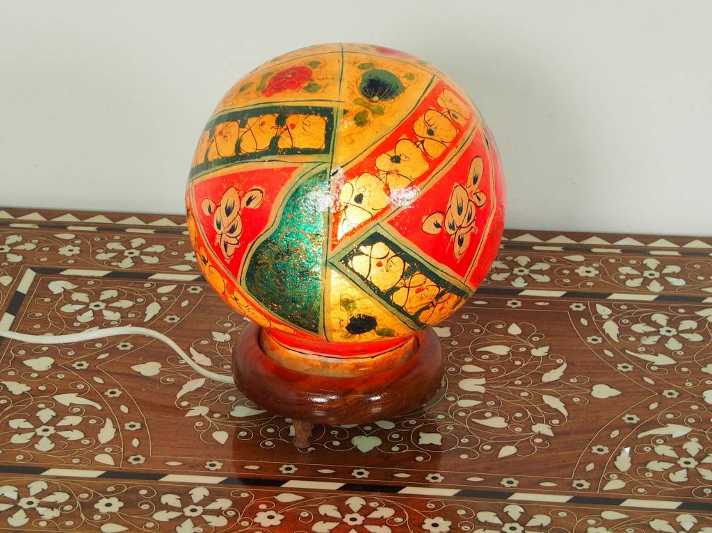 orientalische handbemalte Lampe Kamelleder Tischlampe Nachttischlamp Tischleuchte Nachtlampe Stehleuchte Handarbeit aus Multan Pakistan 18/ 16