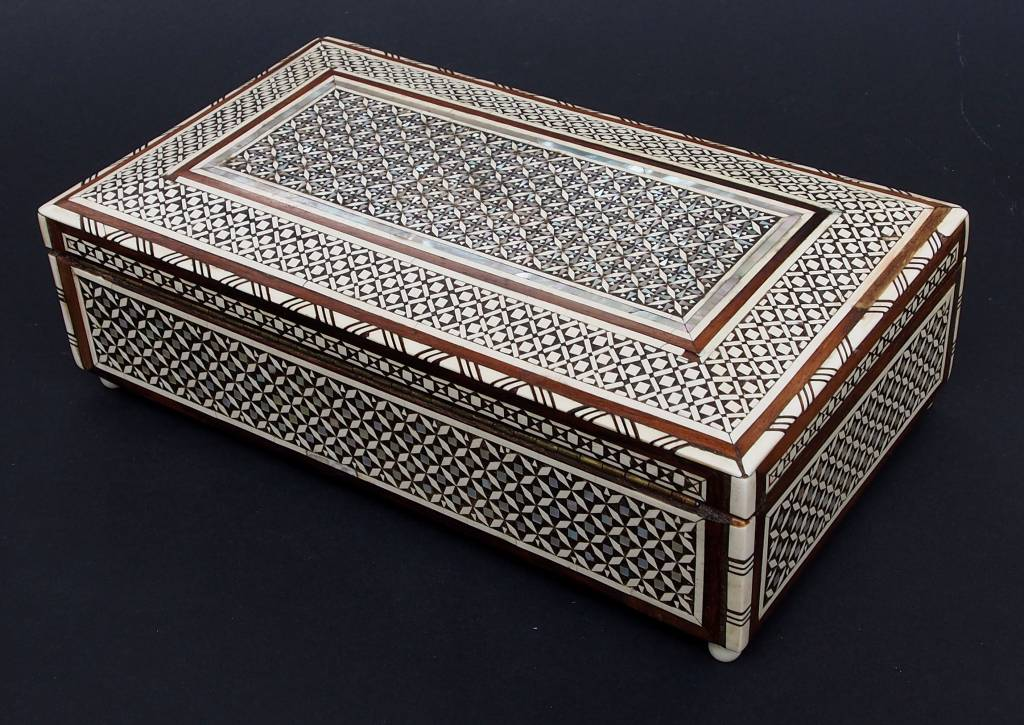 Egyptian Mother Of Pearl Inlay Jewelry Box