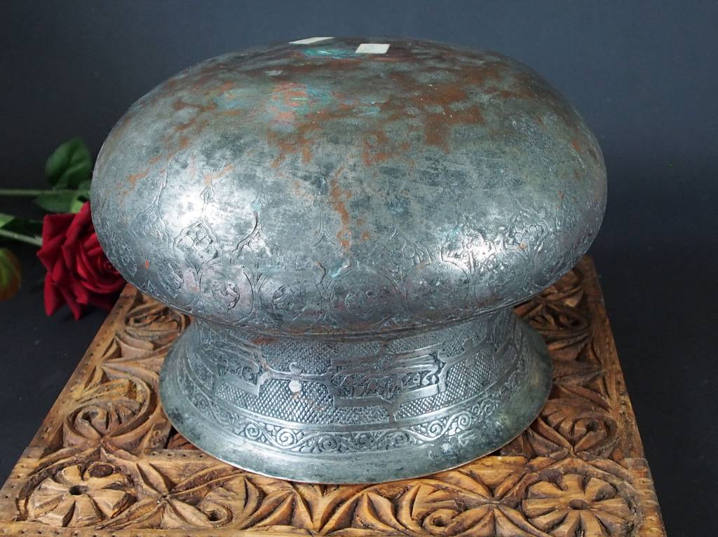 Antique Large islamic Tinned Copper Wine Bowl, 18/19th C. No:Tas/ 1