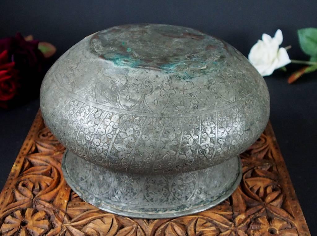Antique Large islamic Tinned Copper Wine Bowl, 18/19th C. No:Tas/  15