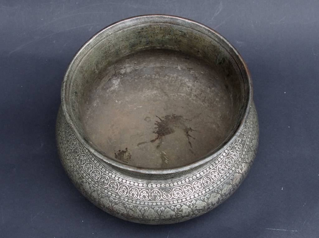 Antique Large islamic Tinned Copper Wine Bowl, 18/19th C. No:Tas/ 32