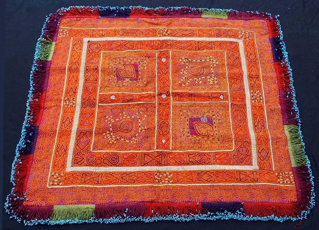 antique  Katawaz  silk embroidery  Tray cloth No:18/C