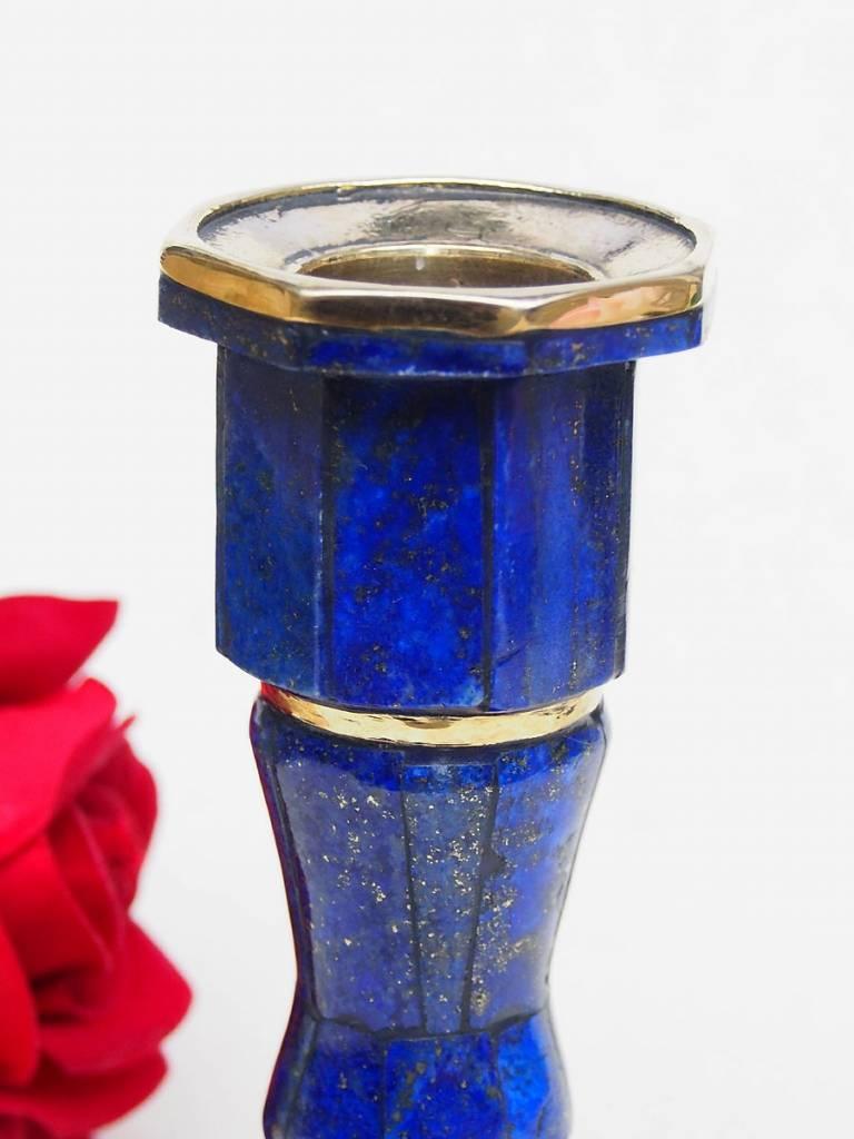 Extravagant Royal blau echt Lapis lazuli kerzenhalter kerzenständer Kerzenleuchter messing verziert aus Afghanistan Nr: Holland (18/S)