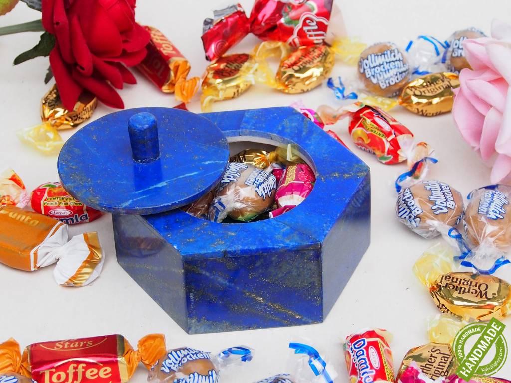 Extravagant Royal blau echt Lapis lazuli Schmuck Dose schatulle Gefäß Dose Büchse deckeldose Süßigkeiten dose aus Afghanistan Nr-18/ 6eck