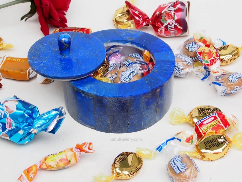 Extravagant Royal blau echt Lapis lazuli Schmuck Dose schatulle Gefäß Dose Büchse deckeldose Süßigkeiten dose aus Afghanistan Nr-18/ Rund
