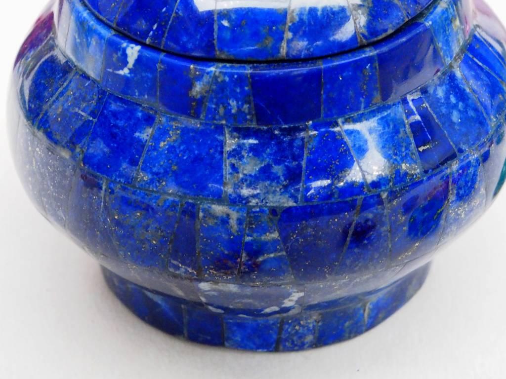 Extravagant Royal blau echt Lapis lazuli Schmuck Dose schatulle Gefäß Dose Büchse deckeldose Süßigkeiten dose aus Afghanistan Nr-18/ S