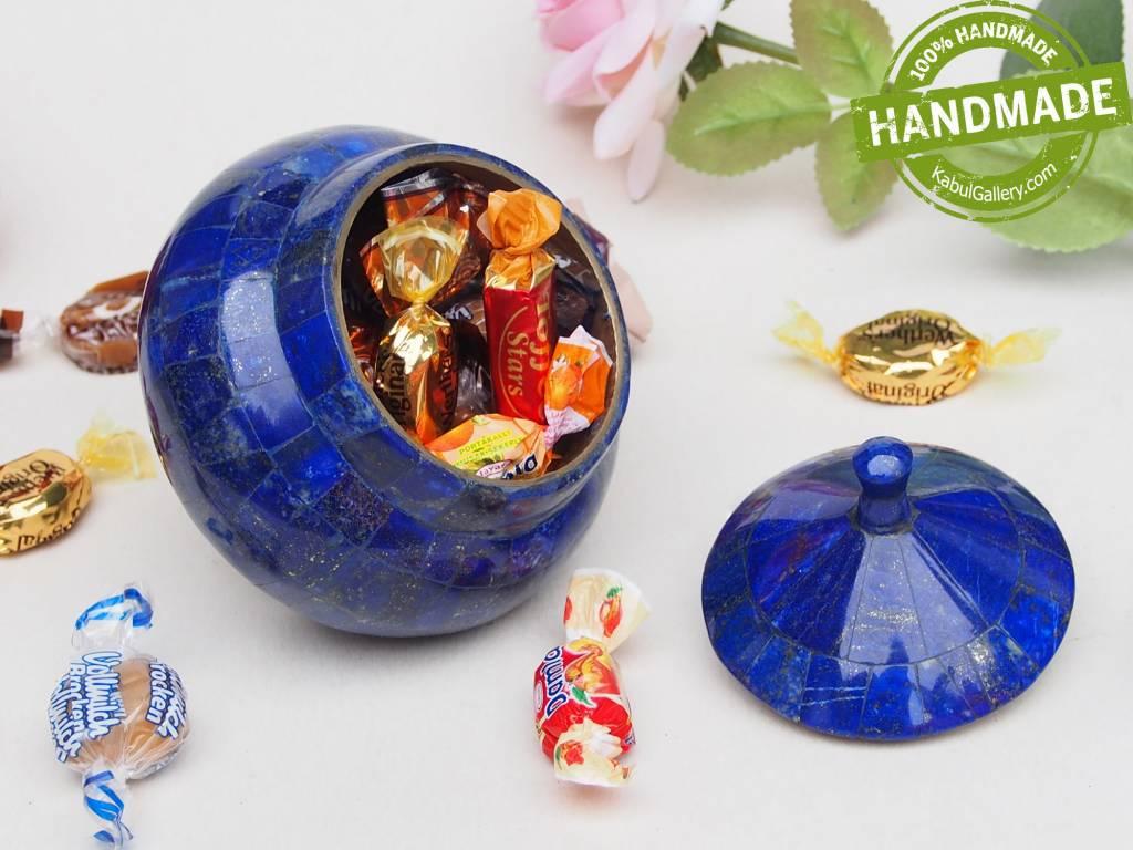Extravagant Royal blau echt Lapis lazuli Schmuck Dose schatulle Gefäß Dose Büchse deckeldose Süßigkeiten dose aus Afghanistan Nr-18/ M