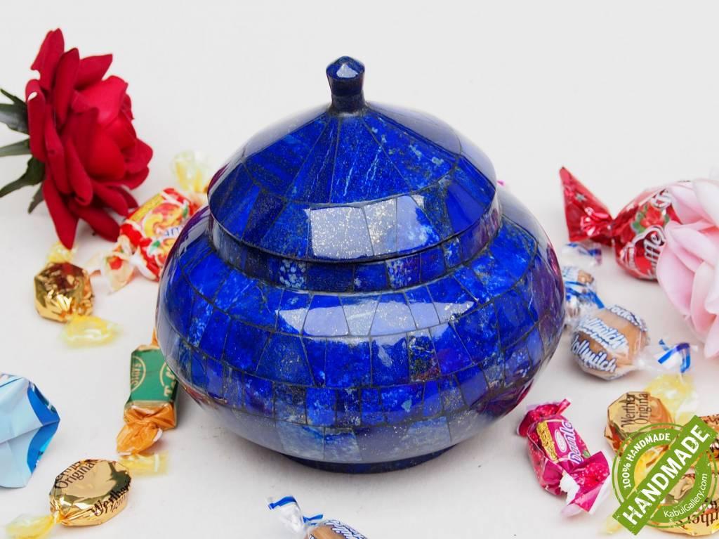 Extravagant Royal blau echt Lapis lazuli Schmuck Dose schatulle Gefäß Dose Büchse deckeldose Süßigkeiten dose aus Afghanistan Nr-18/ L