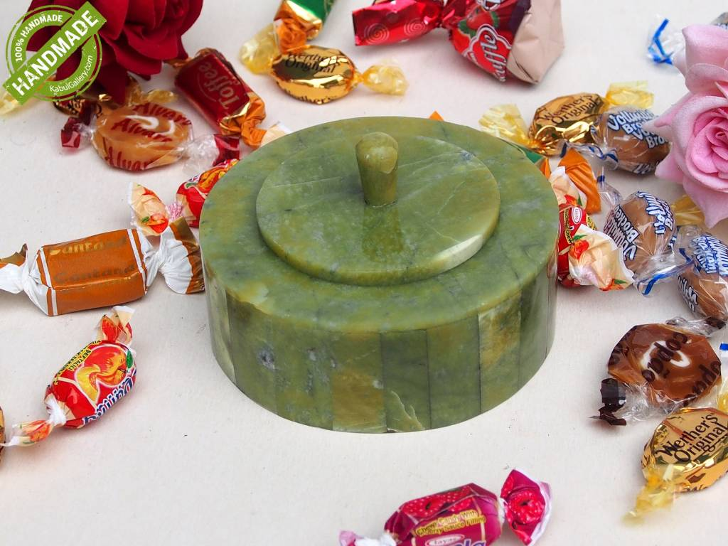 Hand Crafted olive green serpentine Gemstone shahmaqsud box Candy Dish from Afghanistan. 21/B