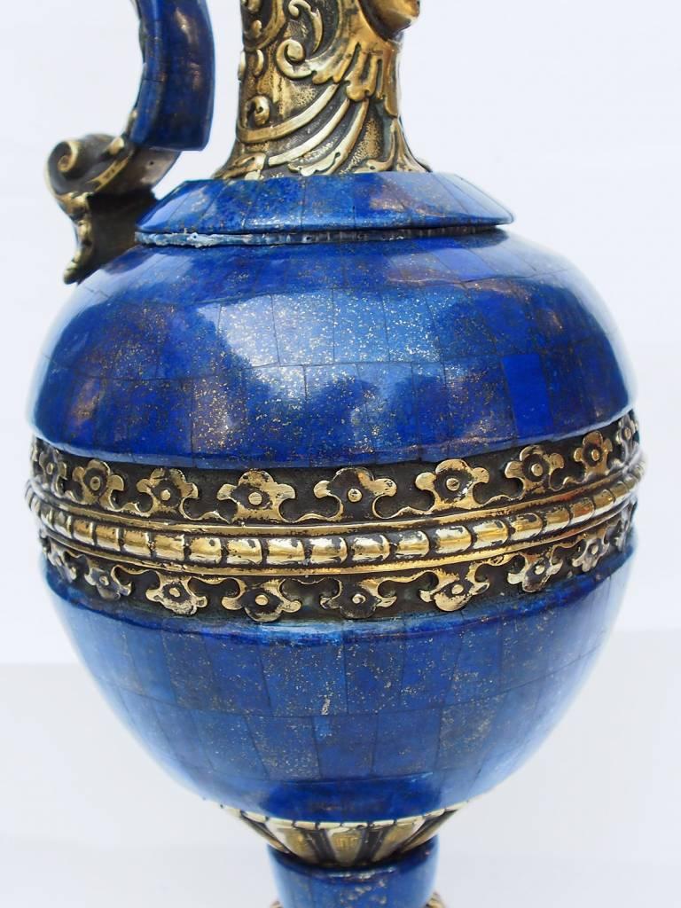 Extravagant Große Royal blau echt Lapis Lazuli - Messing ormolu montiert Vase Prunkvase Krug kerzenhalter aus Afghanistan kerzenständer
