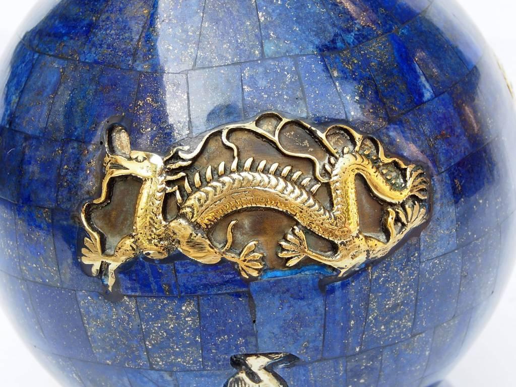 Extravagant Große Royal blau echt Lapis Lazuli - Messing ormolu montiert Vase Prunkvase Krug aus Afghanistan Nr:18/1