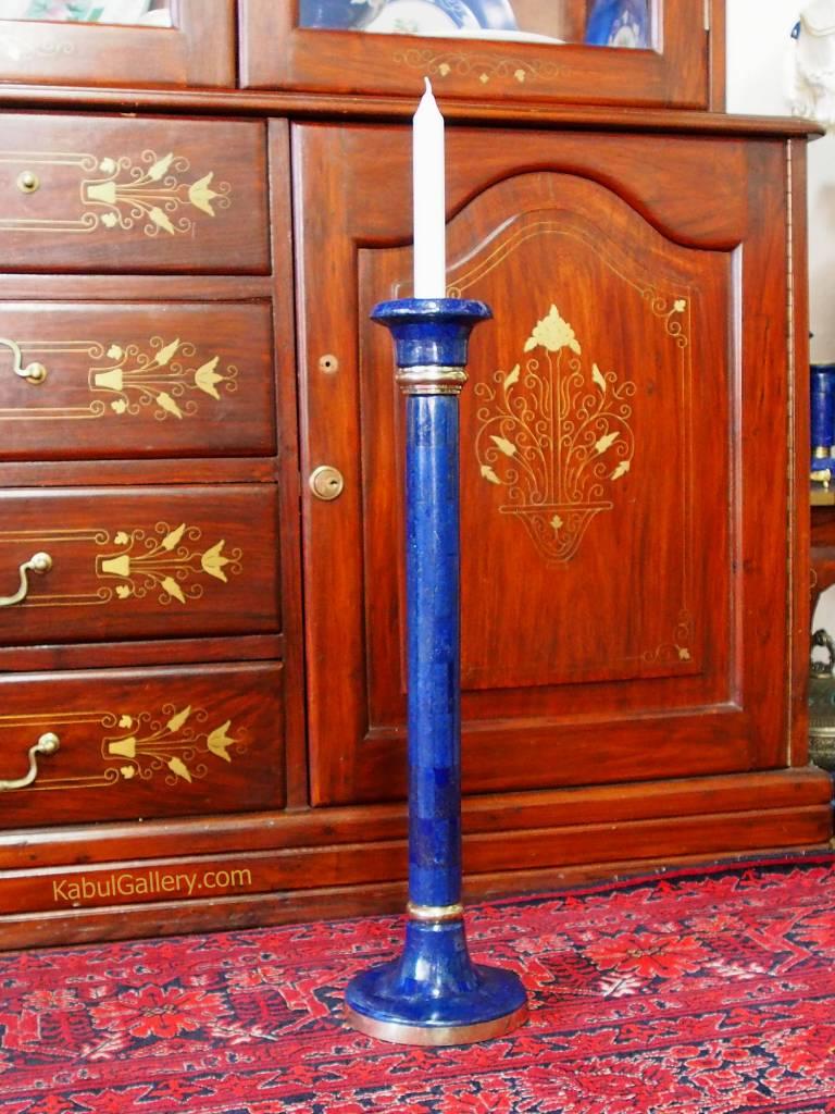 50 cm hoch Extravagant Royal blau echt Lapis lazuli kerzenhalter kerzenständer Kerzenleuchter messing verziert aus Afghanistan Nr: italien(18/XXL)