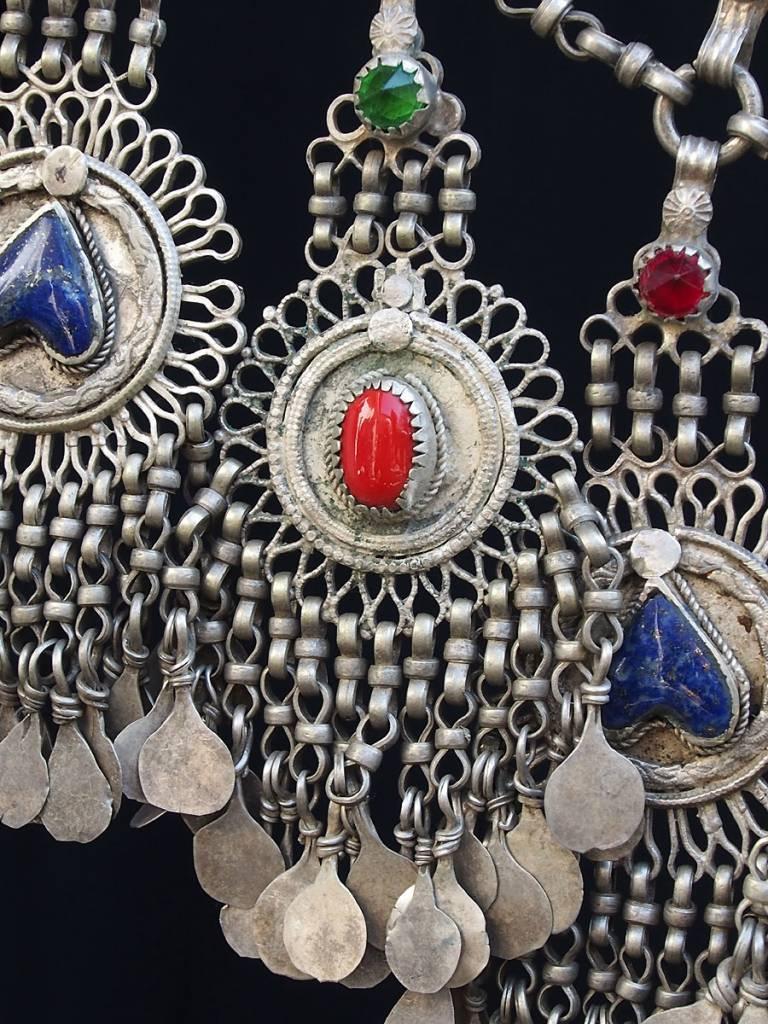 Antike sehr lange Nomaden Silber Halsmomente Kette   Belutschistan  Afghanistan pakistan  Iran