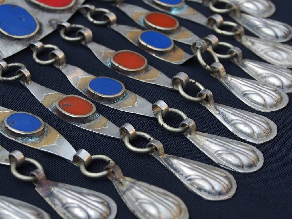 Ethnic Turkmen tribal Nickel silver Gonjik pendant Anhänger No:B