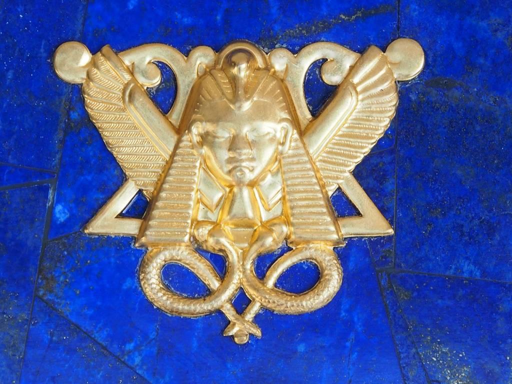 Extravagant Royal blau echt Lapis lazuli Schmuckkiste mit Pharao Tutanchamun  aus Afghanistan Nr-18/F