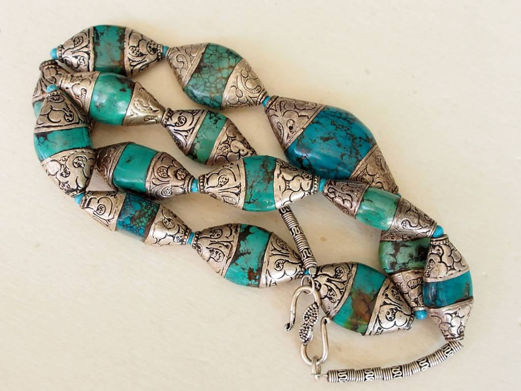 tibetische design kette mit Türkis perlen Nr:9/8