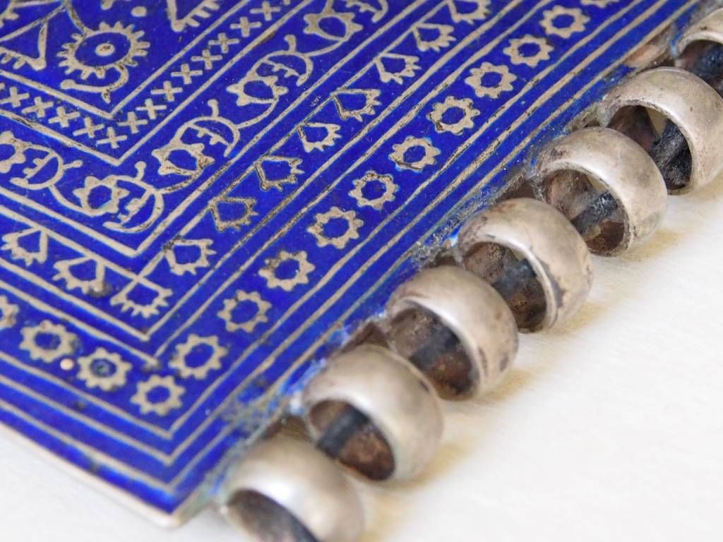 Antik riesig Multan Ketten Anhänger in blau Emailleverziert Nr:18/10