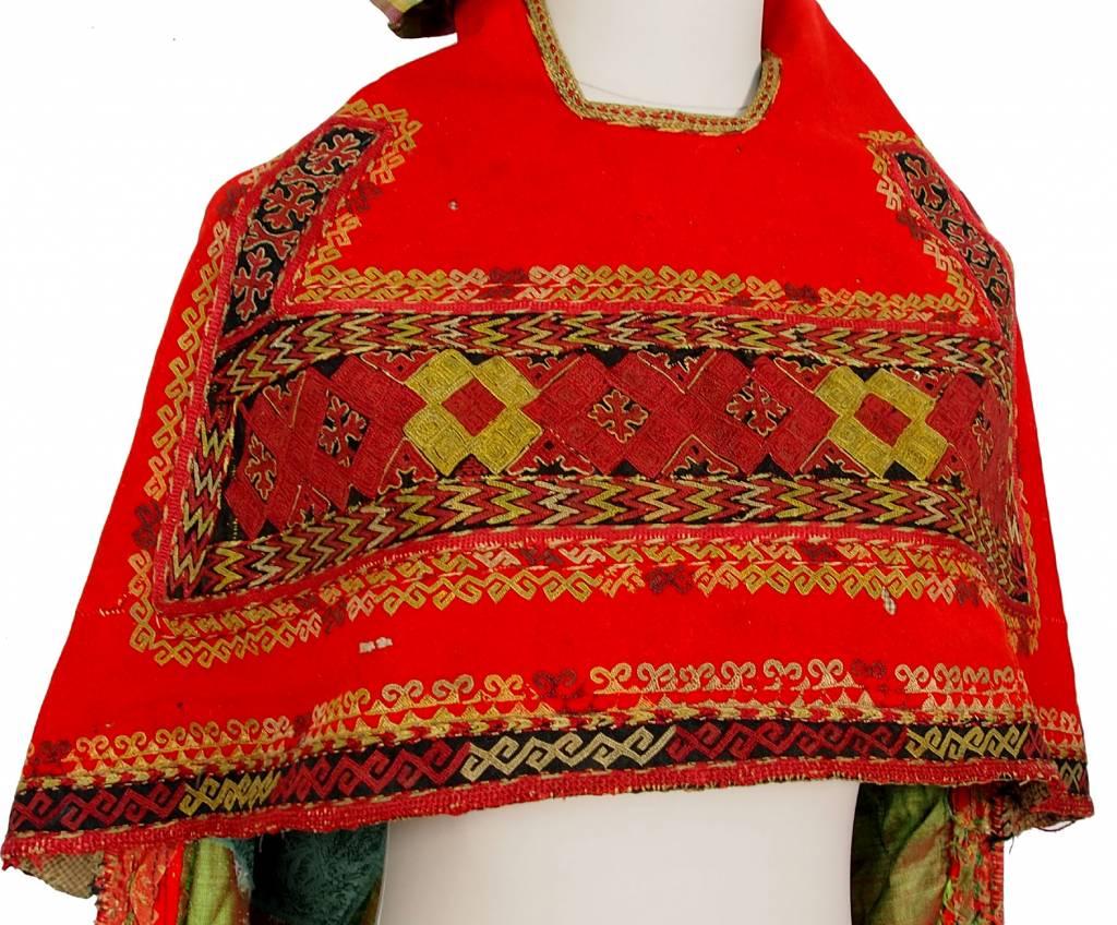 antique Karakalpak kiymeshek woman's head dress Usbekistan ikat 18/14