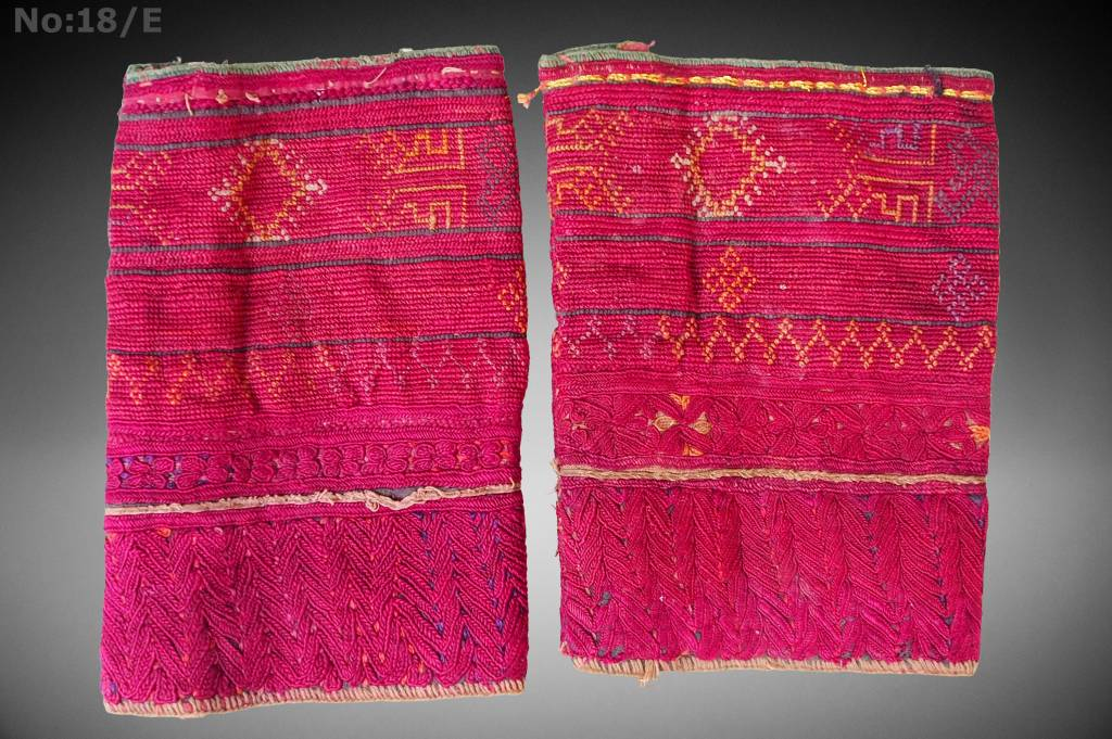 a pair of antique Woman's Silk embroidered Cuffs Eastern Afghanistan Paktya Mangal  late 19th century  No:18/E