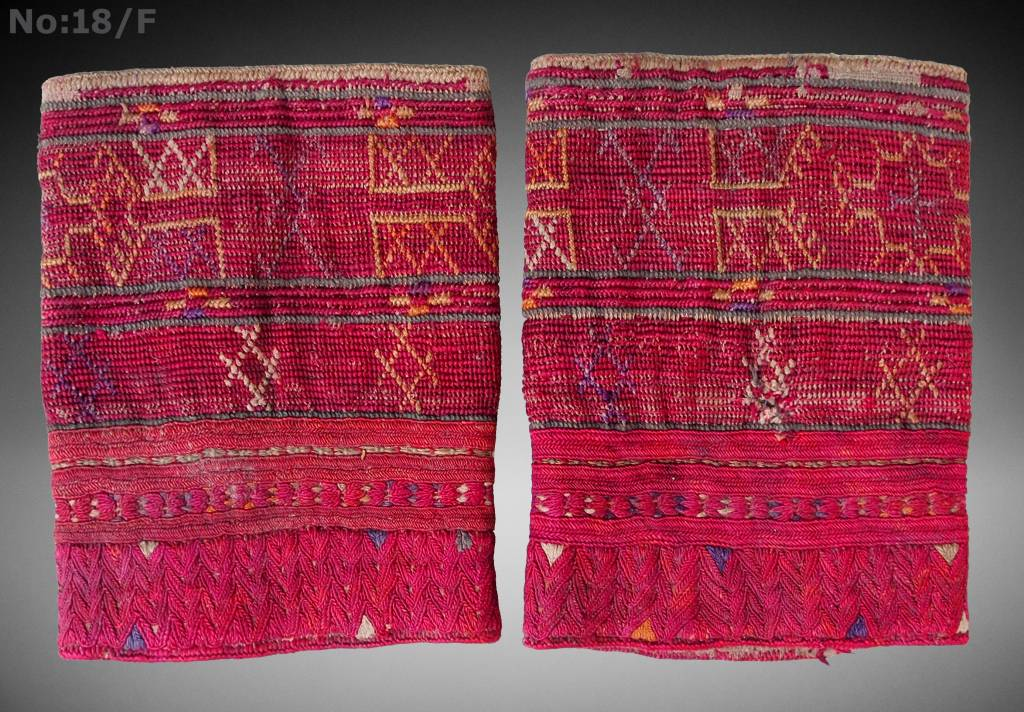 a pair of antique Woman's Silk embroidered Cuffs Eastern Afghanistan Paktya Mangal  late 19th century  No:18/F