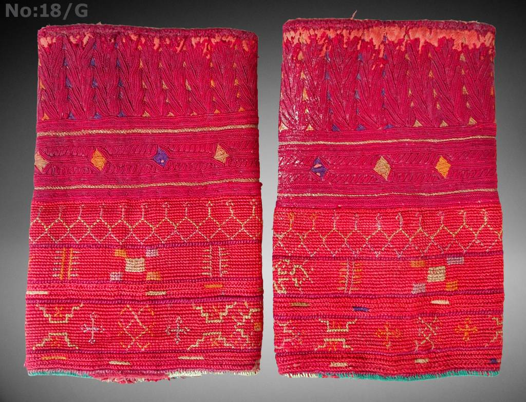 a pair of antique Woman's Silk embroidered Cuffs Eastern Afghanistan Paktya Mangal  late 19th century  No:18/G