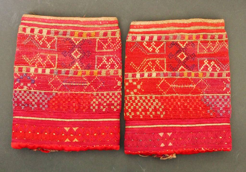 a pair of antique Woman's Silk embroidered Cuffs Eastern Afghanistan Paktya Mangal  late 19th century  No:18/A