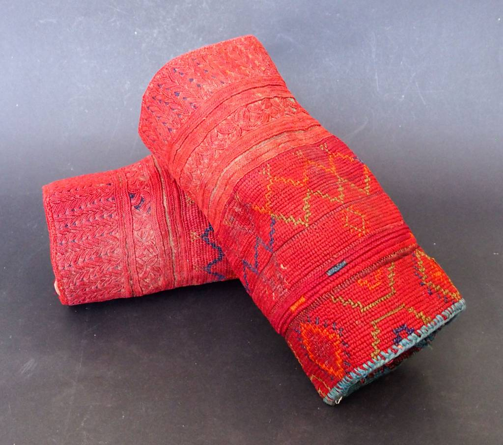 a pair of antique Woman's Silk embroidered Cuffs Eastern Afghanistan Paktya Mangal  late 19th century  No:18/B