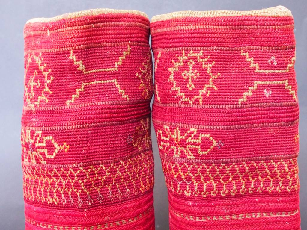 a pair of antique Woman's Silk embroidered Cuffs Eastern Afghanistan Paktya Mangal  late 19th century  No:18/C