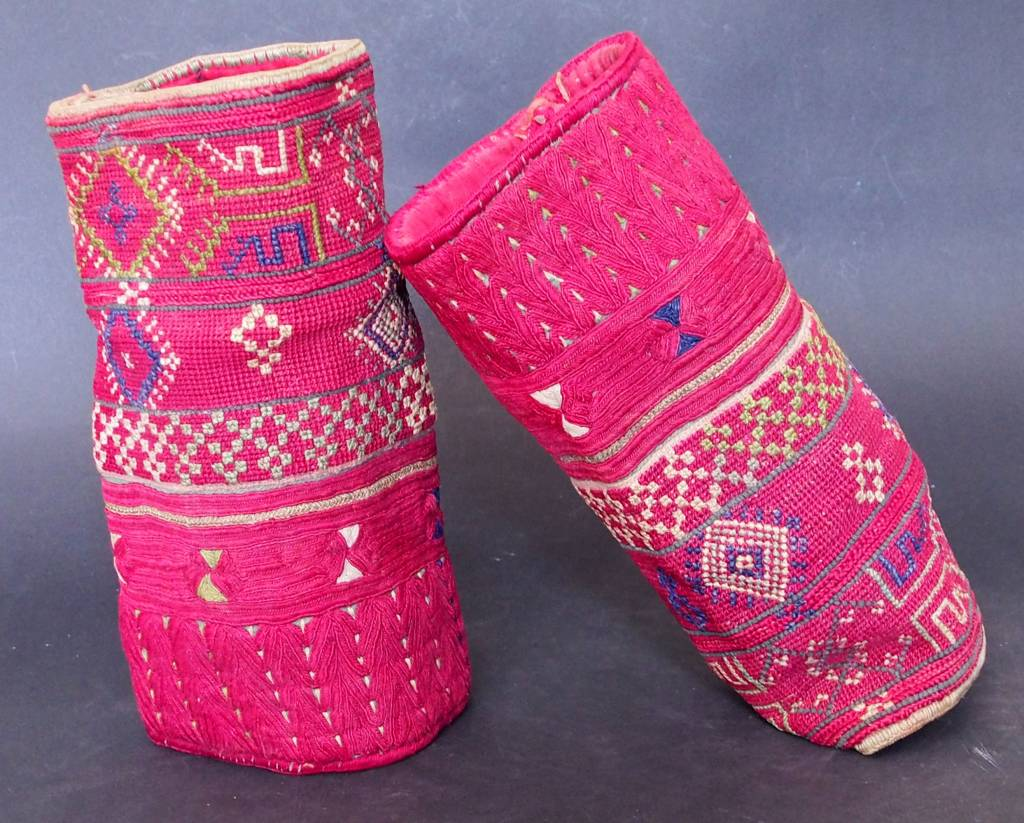 a pair of antique Woman's Silk embroidered Cuffs Eastern Afghanistan Paktya Mangal  late 19th century  No:18/D