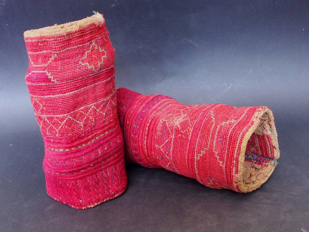 a pair of antique Woman's Silk embroidered Cuffs Eastern Afghanistan Paktya Mangal  late 19th century  No:18/H