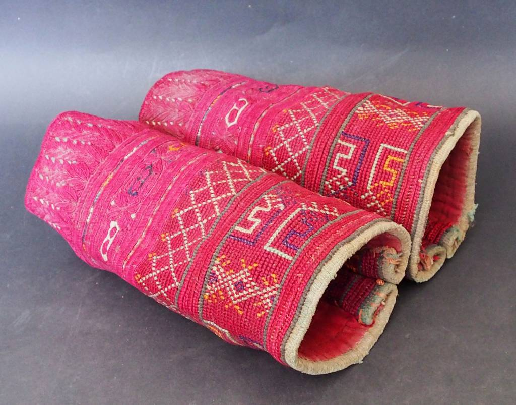 a pair of antique Woman's Silk embroidered Cuffs Eastern Afghanistan Paktya Mangal  late 19th century  No:18/J