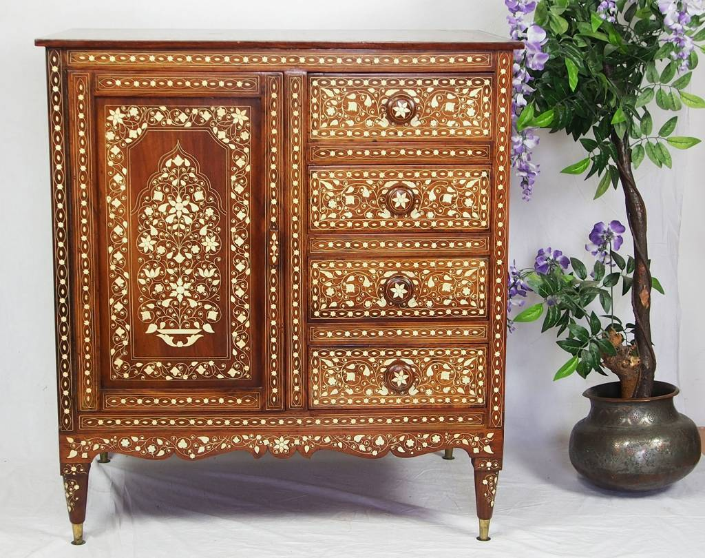 Antique Bone Inlay indian anglo Cabinet commode