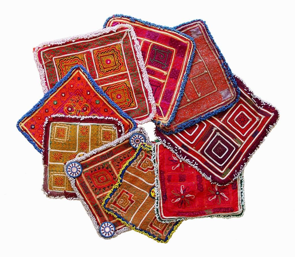 1x paar antik orient Suzani Decke Tuch silk embroidery katawaz Afghanistan 18/8