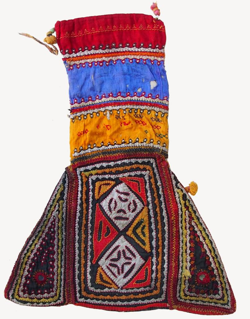 antique Multicolored Cotton Bag Vintage Sindhi Embroidery Antik Banjara Tasche  Nr:C