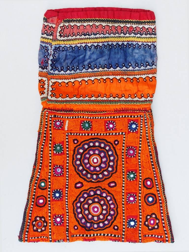 antique Multicolored Cotton Bag Vintage Sindhi Embroidery Antik Banjara Tasche  Nr:D